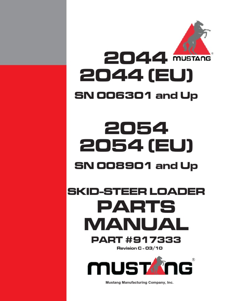 mustang pc rh es scribd com Mustang 2013 2044 Skid Steer Mustang 2044 Specs