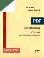 Montherlant Et Camus Une Lignee Nietzscheenne