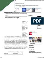 Health Benefits of Orange - Nutritional Value of Oranges