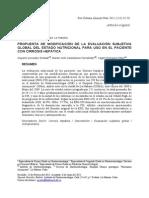 2011 Propuesta de Modificación de La Evaluación Subjetiva Global Del Estado Nutricional