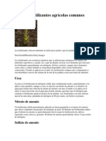 Lista de Fertilizantes Agrícolas Comunes