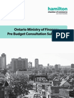 Hamilton Chamber of Commerce 2015 Provincial Pre Budget submission