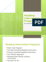 Reading Intervention Programs