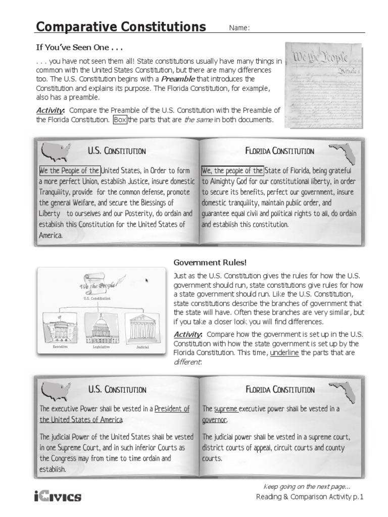 Workbooks us constitution worksheets : comparative constitutions | United States Constitution | The ...