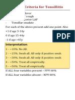 Centor Criteria for Tonsillitis