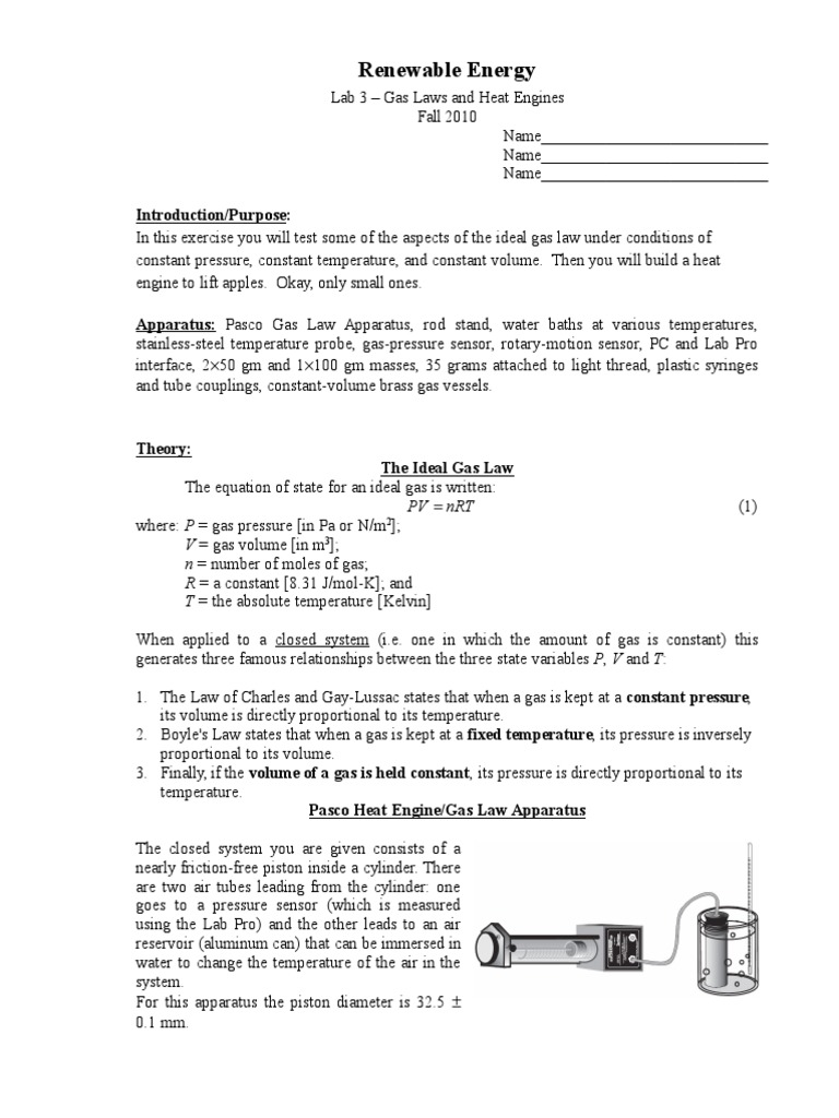 Gas Laws And Heat Engine Gases Temperature