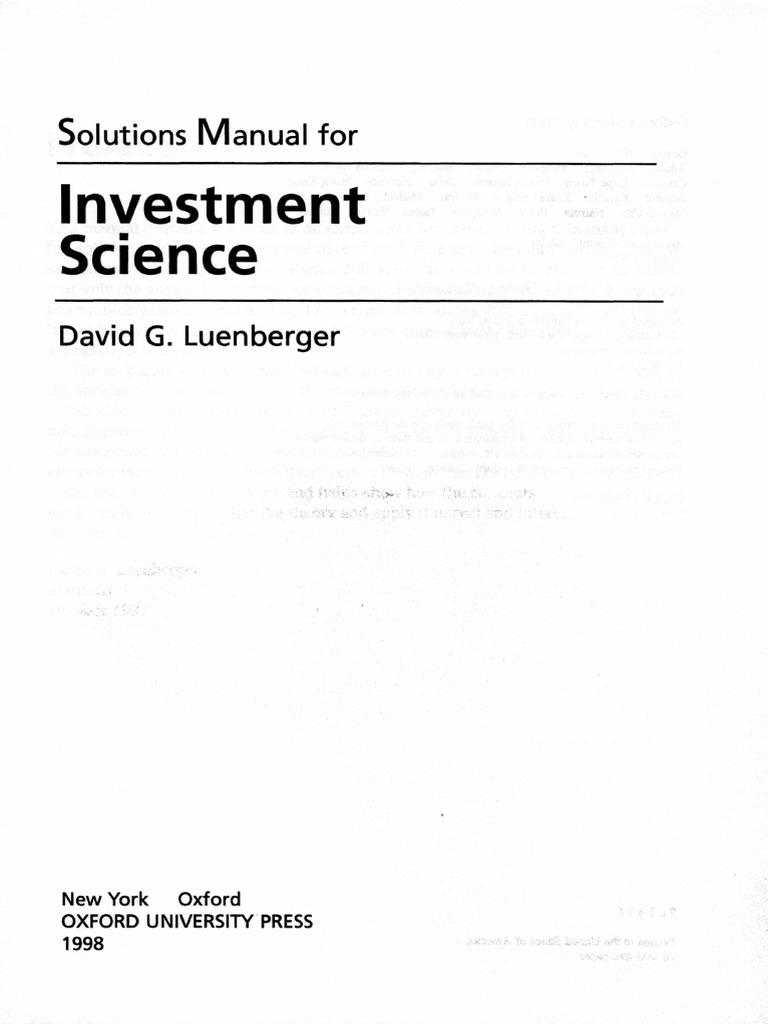 solution manual for investment science by david luenberger rh scribd com Forensic Science Laboratory Electronics Science Fair Projects