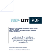 Aplicación de la prueba de discriminación Auditiva PAF y propuesta de programa de intervencion