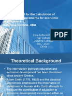 Planning Model for the calculation of educational requirements for economic development-Australia- Canada- USA