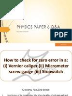 Physics Paper 6 QA Cards