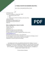 Estructura Del Trabajo Escrito de Ingenieria Industrial