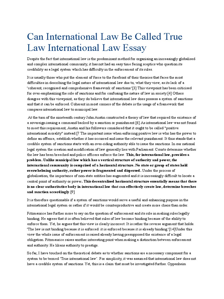 can international law be called true law international law essay can international law be called true law international law essay jurisprudence united nations security council