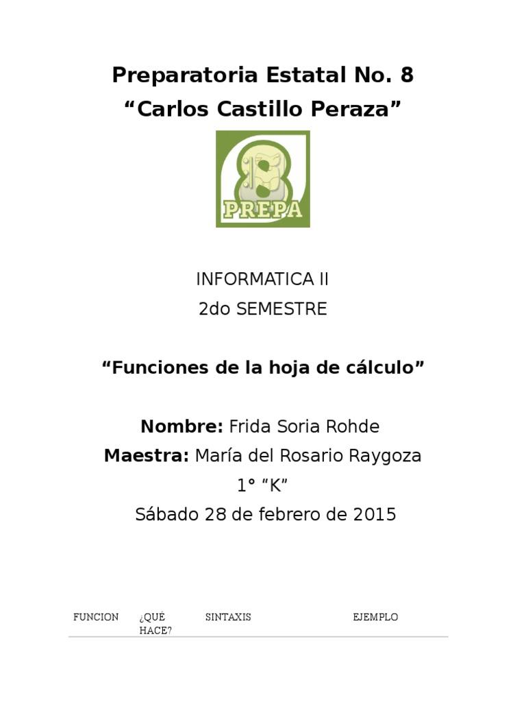 Funciones de La Hoja de Calculo_Frida