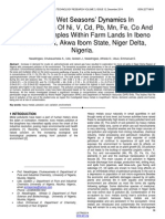 Dry and Wet Seasons Dynamics in Concentrations of Ni v CD Pb Mn Fe Co and Zn in Soil Samples Within Farm Lands in Ibeno Coastal Area Akwa Ibom State Niger Delta Nigeria