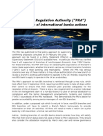 "Prudential Regulation Authority (""PRA"") supervision of international banks actions"