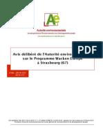 AEAvis délibéré de l'Autorité environnementale sur le Programme Wacken Europe à Strasbourg (67) Avis Février 2015