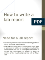 How to Write a Lab Report for MUFY Biology Units 1 and 2 (2014)