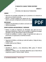 1° PLAN DE CLASES 6°. DIAGNOSTICO DE OPERACIONES. ARITMETICA