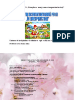 Sava Diana Irina - În Lumea Poveștilor, Proiect Didactic - Secțiunea I