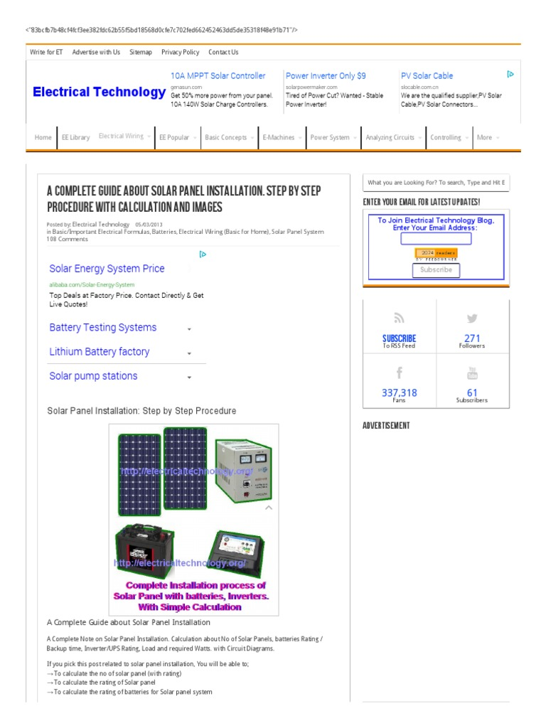 Solar Panel Installation Step By Procedure Battery Charger Electrical Circuit Diagram Ups