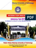 MMMUT Admission Test 2015 Information Brochure