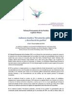 Programa Audiencia Ambiental Tribunal Permanente de los Pueblos