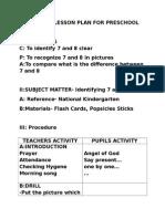 Detailed Lesson Plan for Preschool
