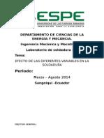 EFECTO DE LAS DIFERENTES VARIABLES EN LA SOLDADURA