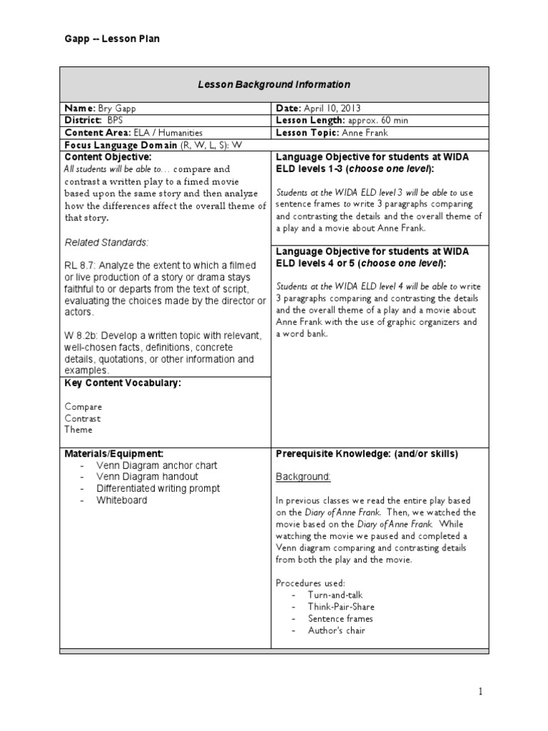 Anne frank compare contrast lesson plan lesson plan education theory ccuart Image collections
