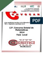 Temario de Guia decompetencia estatal de Matematicas Nivel Superior (COESMA 2014)