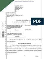 Restoration Hardware v. Chicago Wicker - Complaint