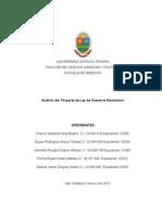 Análisis Del Proyecto de Ley de Comercio  Electrónico