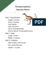 Sinosauropteryx Species Memo