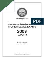 Ib Higher Level Maths (2003) Paper 1