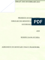 Monetary Policy Agreement Between RBI and Government