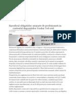 Specificul Obligatiilor Asumate de Profesionisti in Contextul Dispozitiilor Noului Cod Civil