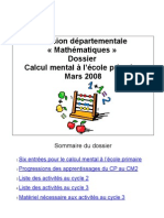 Dossier calcul mental Avril 2008