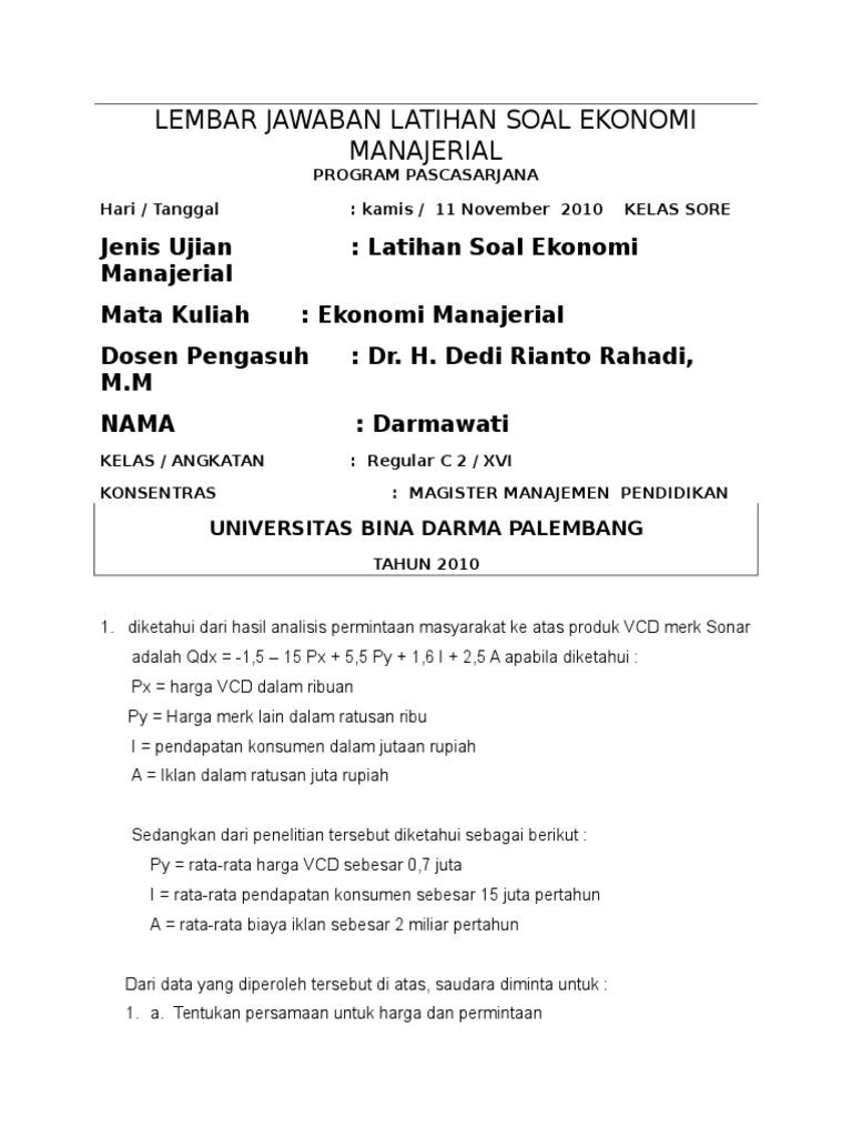 Soal Tes Masuk Fakultas Ekonomi Jawabanku Id