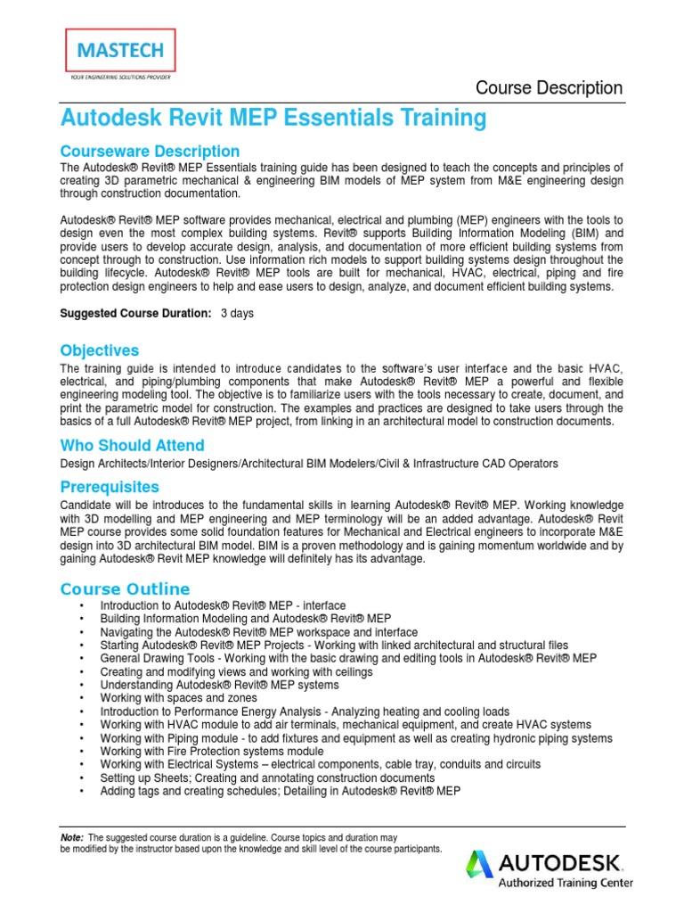 Autodesk REVIT MEP Course Description - 3 Days | Autodesk Revit | Building  Information Modeling