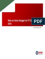 Union Budget FY 2015-16