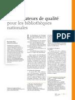 Les Indicateurs de Qualite Pour Les Bibliotheques Nationales