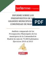 Informe CCOO Presupuestos Grandes Municipios Comunidad de Madrid