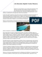 Bienvenidos Al Foro de discusion Alquiler Coches Menorca