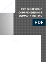 Tips on Reading Comprehension & Summary Writing
