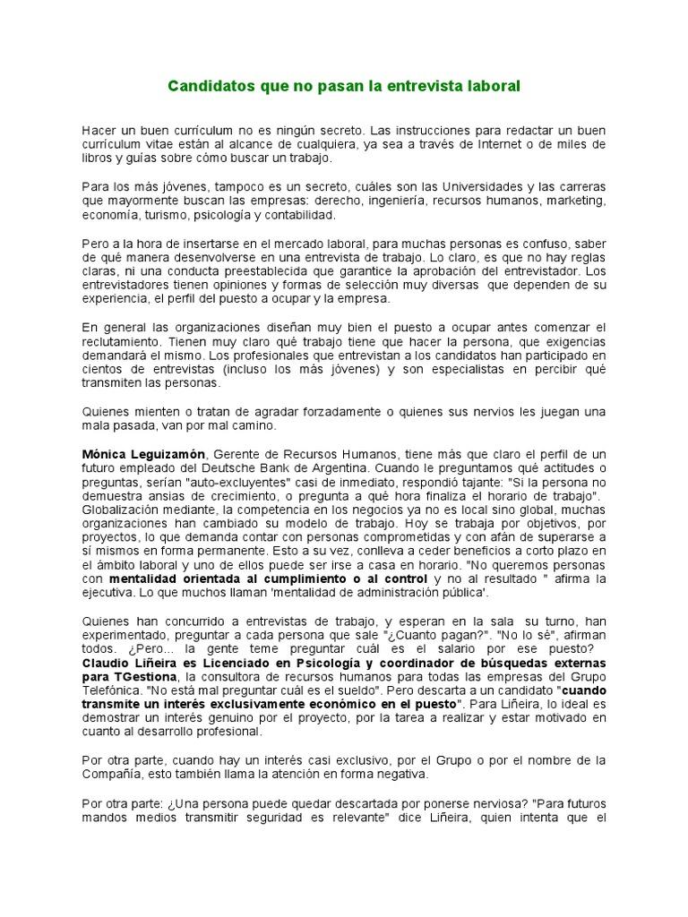 Candidatos Que No Pasan La Entrevista Laboral - 5