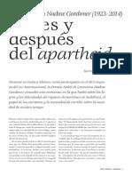 ENTREVISTA CON NADINE GORDIMER (1923- 2014). ANTES Y DESPUÉS DEL APARTHEID