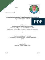 Determination Formula of Local Earthquake Magnitude