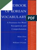 Cho-handbook of Korean Vocabulary 1996