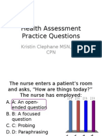 TEST 1, Health Assessment Practice Questions(1)