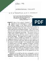Wimsatt, Beardsley. the Intentional Fallacy